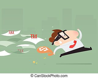 Cartoon businessman avoid from paying taxes, Tax return, Vector illustration