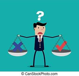 Cartoon businessman balancing cross and tick symbol
