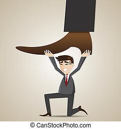 cartoon businessman carry stomping foot - illustration of...