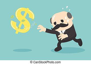 cartoon businessman chasing symbolmoney style. Vector illustration.