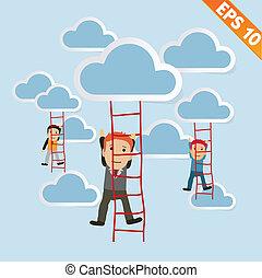 Cartoon Businessman climbing ladder - Vector illustration - EPS10
