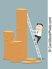 Cartoon businessman climbing to coins stacks
