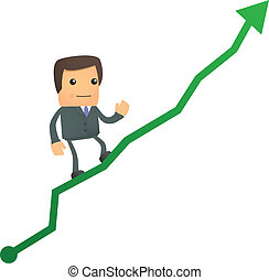 cartoon businessman climbing up at the diagram - set of...