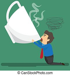 Cartoon businessman drink coffee because of drowsiness and need more big coffee cup. (suffer from severe dysentery), Coffee addiction. vector illustration.