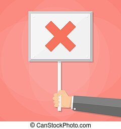 Cartoon Businessman hand hold sign with cross. negative checkmark in center. wrong choice concept, vector illustration flat design on red background.