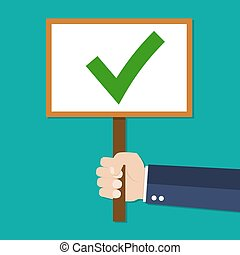 Cartoon Businessman hand hold sign with green tick