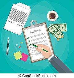 Agenda papers in clipboard