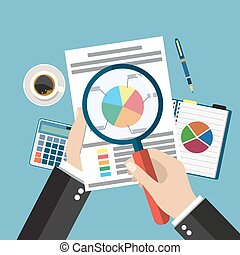 Cartoon businessman hands with magnifier analysis paper sheet