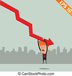 Cartoon Businessman hanging on graph - Vector illustration - EPS10