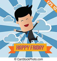 Cartoon Businessman happy friday - Vector illustration - EPS10