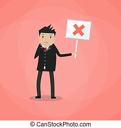 Cartoon Businessman hold sign with cross