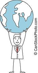 Cartoon businessman holding a globe