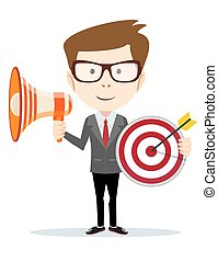 Cartoon businessman holding target and megaphone.