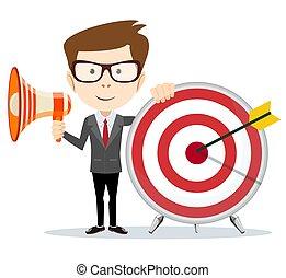 Cartoon businessman holding target and megaphone.