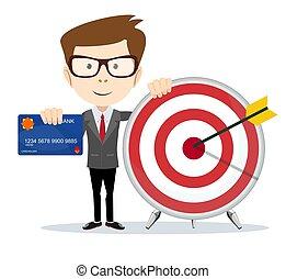 Cartoon businessman holding target and plastic card.