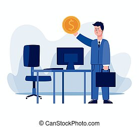 cartoon businessman holding up a money coin and desk with computer