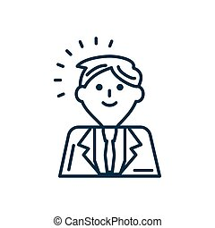 cartoon businessman icon, line style