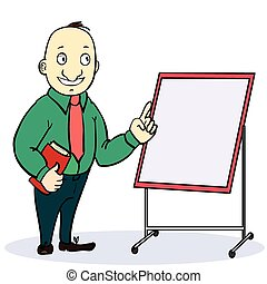 Cartoon businessman in glasses with a briefcase giving the thumbs up, explaining and pointing at blank white board, placard