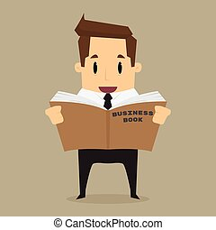 cartoon businessman learn and reading a book