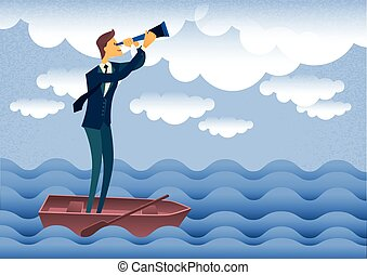 Cartoon Businessman Looking Through Telescope Up Clouds Standing In Boat