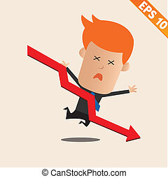 Cartoon Businessman negative graph - Vector illustration - EPS10
