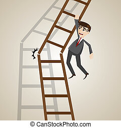 cartoon businessman on broken ladder