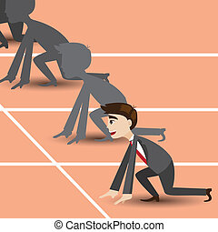 cartoon businessman on racetrack