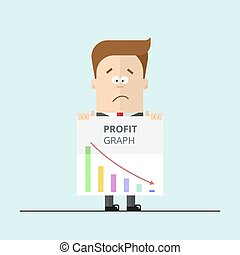 Cartoon businessman or manager in a suit shows unsuccessful profit graph.