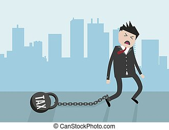 Businessman pulling a weight with