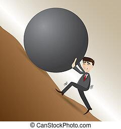 cartoon businessman push steel ball on moutain -...