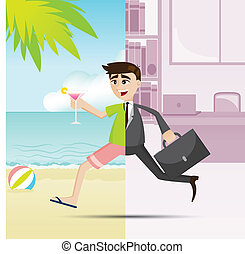 cartoon businessman relax on summer time - illustration of...