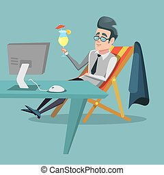 Cartoon Businessman Relaxing at Office with Tropical Cocktail. Work Break. Vector illustration