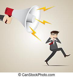 cartoon businessman run away from big megaphone -...