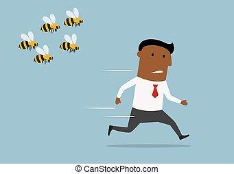 Cartoon businessman running away from bees