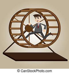 cartoon businessman running in rat wheel