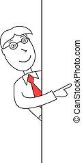 Cartoon businessman showing a board