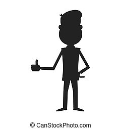 Cartoon businessman silhouette vector.