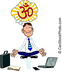 Cartoon businessman sitting in lotus pose.