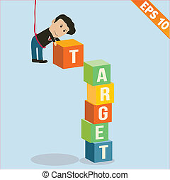 Cartoon Businessman stacking target box - Vector illustration - EPS10