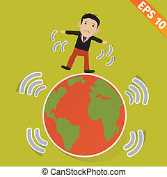 Cartoon Businessman stand with earthquake - Vector illustration - EPS10