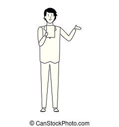 cartoon businessman standing icon, flat design