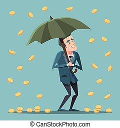 Cartoon Businessman Standing with Umbrella Under the Money Rain. Business Success. Vector illustration