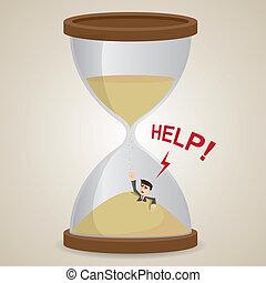 cartoon businessman stuck in sandglass - illustration of...