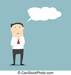 Cartoon businessman thinking with cloud or bubble