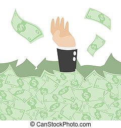 cartoon businessman under pile of cash - illustration of...
