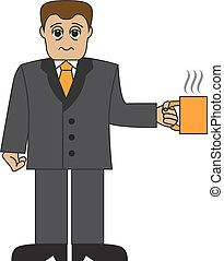 Cartoon businessman with a cup
