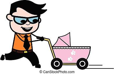 Cartoon Businessman with Baby Cart
