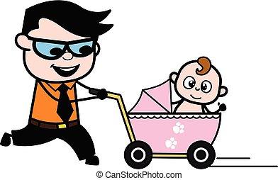 Cartoon Businessman with baby stroller
