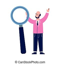 cartoon businessman with big magnifying glass
