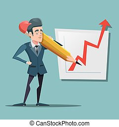 Cartoon Businessman with Big Pencil Drawing Growth Graph. Business Planning. Vector illustration